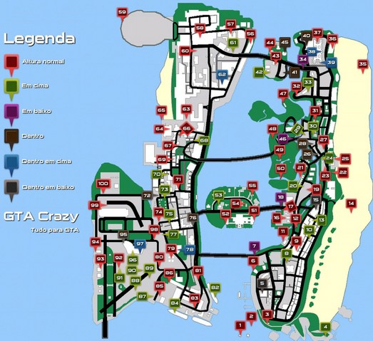 Mapa com as missões do GTA Vice City
