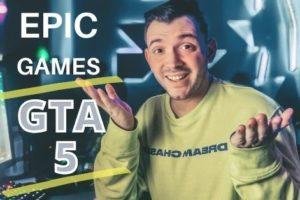 Homem mostrando o GTA 5 no site da Epic Games